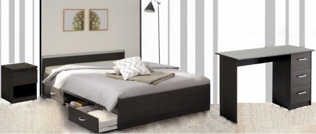 Parisot Alpha Schlafzimmer Set 3-teilig mit Schreibtisch