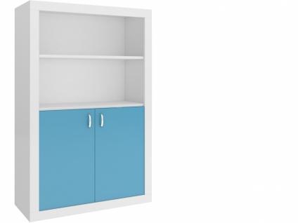 Jugend Bücherregal Phil 2-türig Blau Weiß