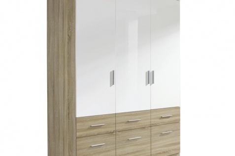 Drehtür-Kombischrank CELLE-EXTRA weiß / Eiche Sonoma 136 x 210 x 54 cm