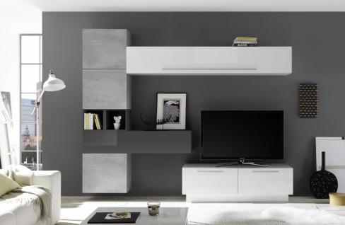 Moderne Wohnwand Kombi Veldig 7-teilig Weiß Grau
