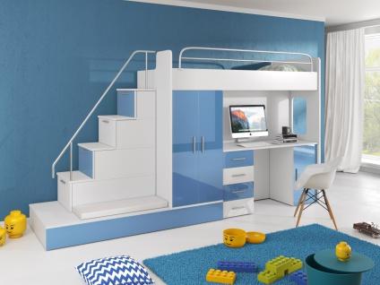 Hochbett mit Treppe Beluzi mit Gästebett in Blau