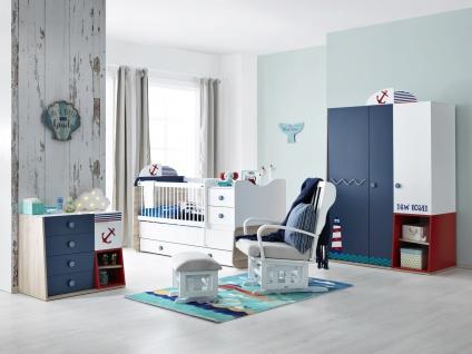 Babyzimmer Set New Ocean mit Babybett mitwachsend