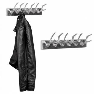 Garderobenhaken 6er Hirschhörner aus Aluminium Hörner Farbe Silber