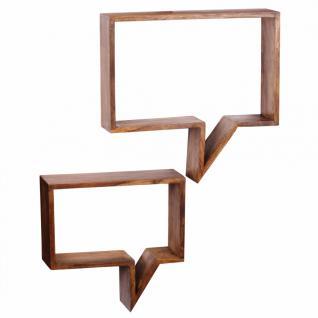 2er Set Wandregale Massivholz Sheesham Cubes