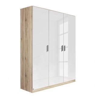Drehtürenschrank CELLE weiß / Eiche Sonoma 136 x 197 x 54 cm