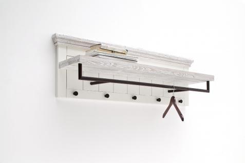 Olio Garderobenpaneel mit 5 Haken in Kiefer Weiß massiv