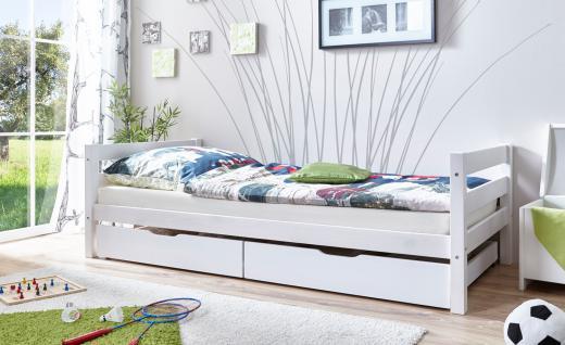Einzelbett Mit Bettkasten Geri Kiefer Massiv Weiß