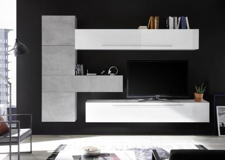 Wohnzimmerwand in Weiß Beton Optik Veldig 6-teilig - Vorschau