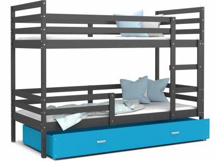 Etagenbett mit Bettkasten Grau Blau Rico 80x160