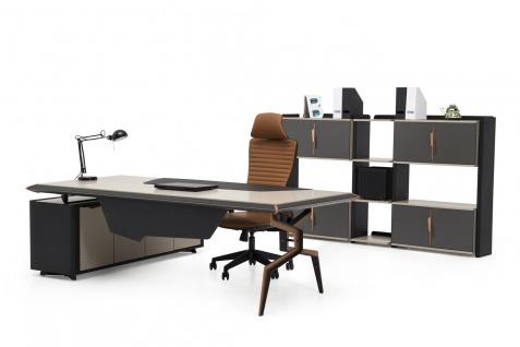 Ovali Schreibtisch Set 3-teilig Brooklyn Beige Schwarz