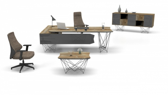 Design Büromöbel Parantez Holz Optik 3-teilig