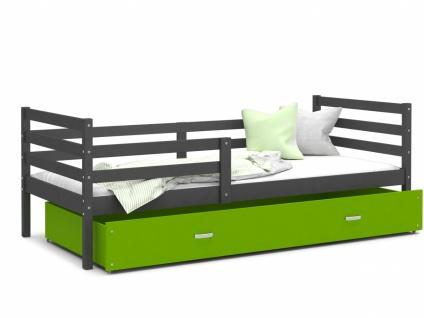 Kinderbett mit Bettkasten Grau Grün Rico 90x200