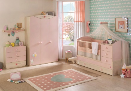 Cilek Baby Girl Babyzimmer Set in Rosa 4-teilig