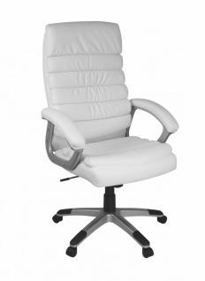 Valencia Design Chefsessel, Bürostuhl Leder Optik Weiß