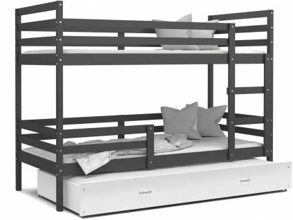 Etagenbett mit Gästebett Grau Weiß Rico 80x190