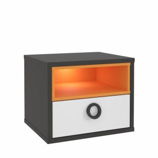 Nachttisch in Grau Weiß Orange Cosi