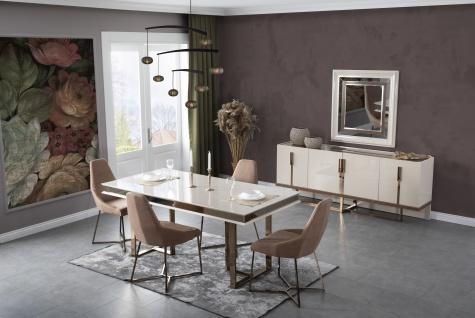 Lidya Esszimmer Set komplett Lucca Creme Bronze