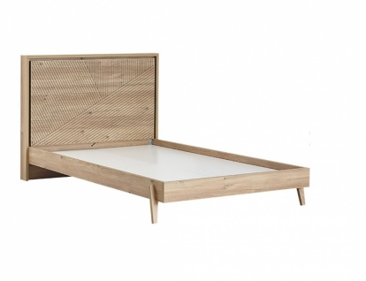 Jugendbett in warmer Holz Optik Origami 120x200 - Vorschau 1