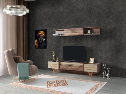 TV Lowboard Tower mit Wandregal mit Massivholz