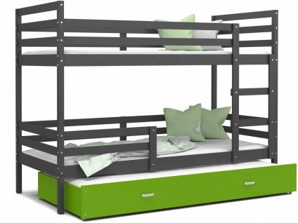 Etagenbett mit Gästebett Grau Grün Rico 80x190