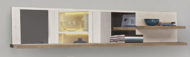 Wandregal in Pinia Weiß Hedda mit Spiegel