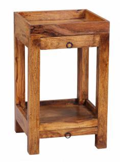 Sheesham Massivholz Telefontisch Konsole mit 2 Schubläden und Ablage 65 x 39, 5 x 39, 5 cm