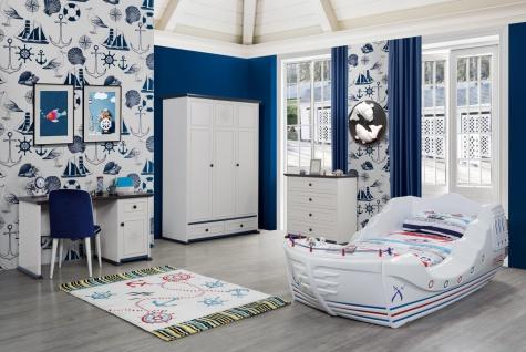 Kinderzimmer Set in Weiß Marine Captain mit Boot Bett