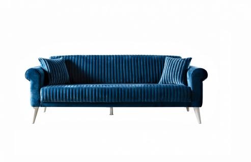 Polstermöbel Set Gino mit Schlafsofa in Blau/Creme - Vorschau 2