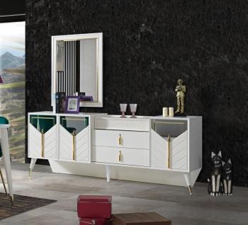 Weißes Sideboard Piramit mit Schubladen & Türen