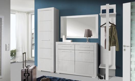 Garderoben Set Weiß Glanz Amarus 4-teilig