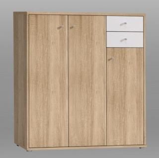 Kommode modern Tanja 3-türig in Sonoma Eiche / Weiß