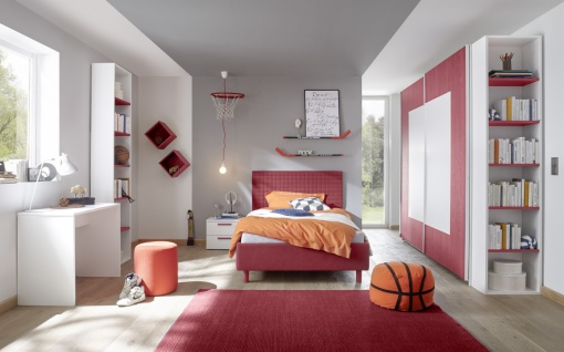 Design Jugendzimmer komplett Rot Space 3-teilig