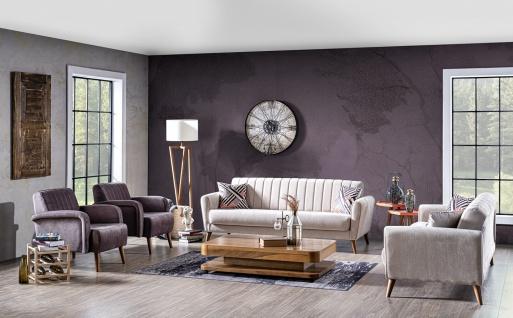 Wohnzimmer Couch Set Maya mit Klappsofa Creme