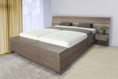 Schwebendes Bett Rielle B 120x200 Eiche Weiß Links