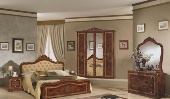 Schlafzimmer in Walnuss Christina mit 4-türigem Schrank