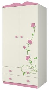 Kleiderschrank 2-türig Rosalia Creme mit Rosengravur