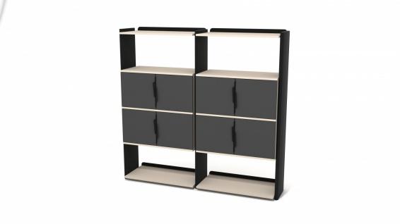 Ovali Bücherregal 8-Fächer Prime Schwarz Creme