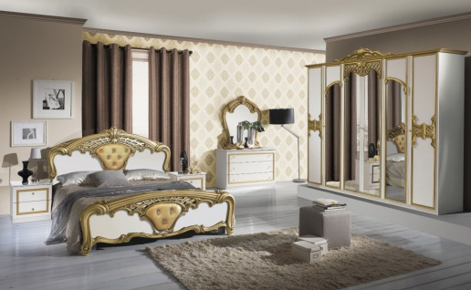 Barock Schlafzimmer Weiß Edeline mit 6-türigem Schrank