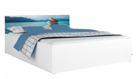Bett Pisa Weiß mit Motivkopfteil Wasser 160x200