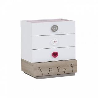 Kommode Weiß Pink Sweety mit Glasoberfläche