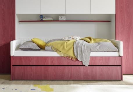 Jugendbett Space ohne Polsterung Rot 90x200