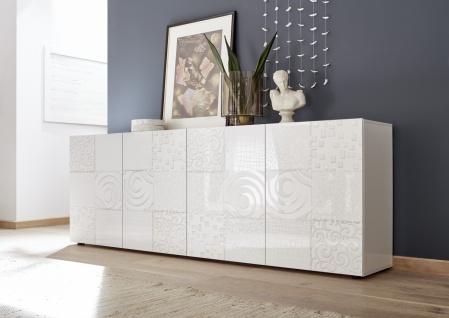 Sideboard Orim 4-türig Hochglanz Weiß