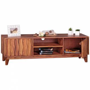 WOHNLING Lowboard Massivholz Sheesham Kommode 146cm TV-Board 2 Fächer und Türen Landhaus-Stil Unterschrank TV-Möbel