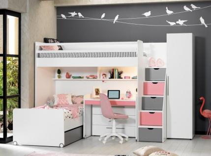 Almila Kinderzimmer Set Neo mit Hochbett in Rosa