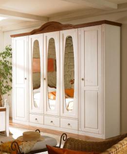Kleiderschrank Flamin Pinie Weiß-Nussbaum 4 Türen