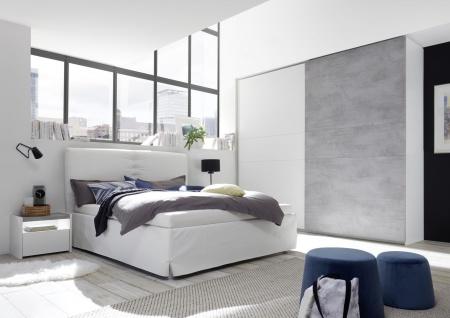 Schlafzimmer komplett Weiß Beton Optik Full Luana