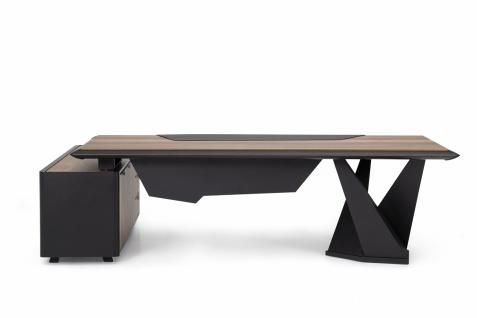Ovali Büroschreibtisch 2-teilig Origami ll Holzoptik