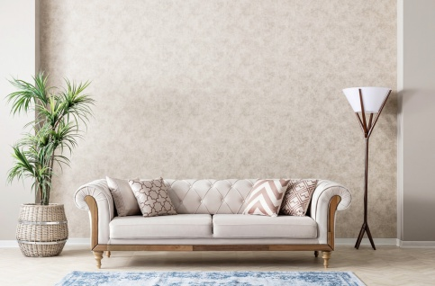 Design Sofa Lifa in Beige mit Dekokissen