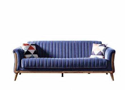 Schlafcouch 2-Sitzer Mola in Nubuk Optik in Blau - Vorschau 1