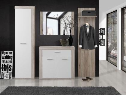Garderoben Set Zeus 4-teilig in Sandeiche / Weiß